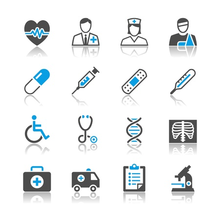 Healthcare icons reflection theme Vector