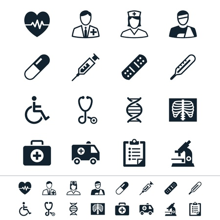 patient in hospital: Healthcare icons Illustration