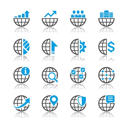 subsidiary: Business icons reflection theme