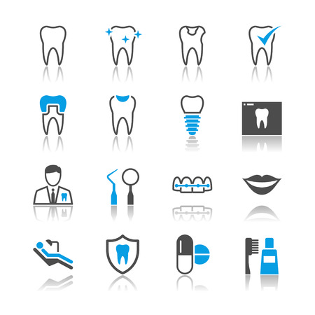 Dental icons reflection theme Stock Vector - 23297766