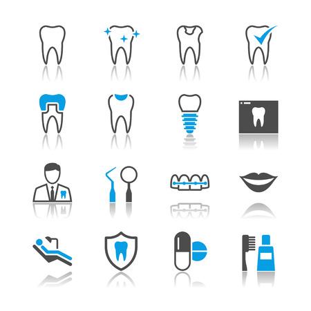 sillon dental: Iconos Dental tema de reflexi�n Vectores