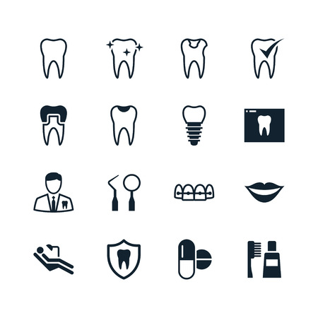 Dental icons Vectores