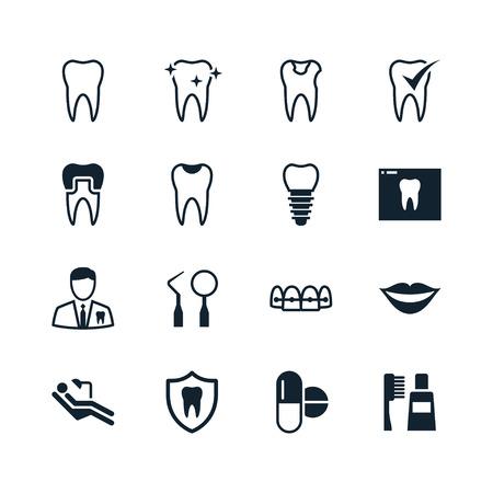 sillon dental: Iconos dentales Vectores