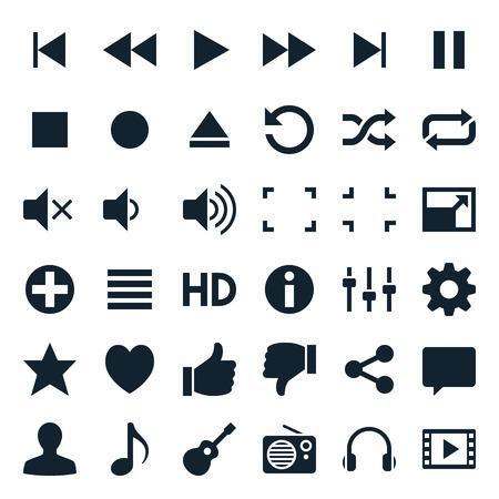 Media player iconen Stock Illustratie