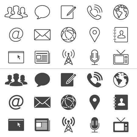 Media en communicatie dunne iconen, inclusief normaal en stellen toestand Stock Illustratie