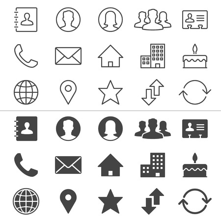 telephone line: Contact thin icons, included normal and enable state