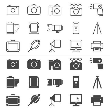 photography icons: Photography thin icons, included normal and enable state