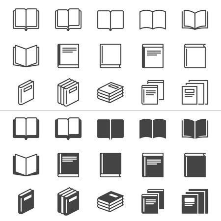 Book thin icons, included normal and enable state  Vectores