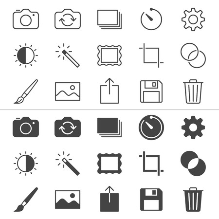 Photography thin icons, included normal and enable state  Vector