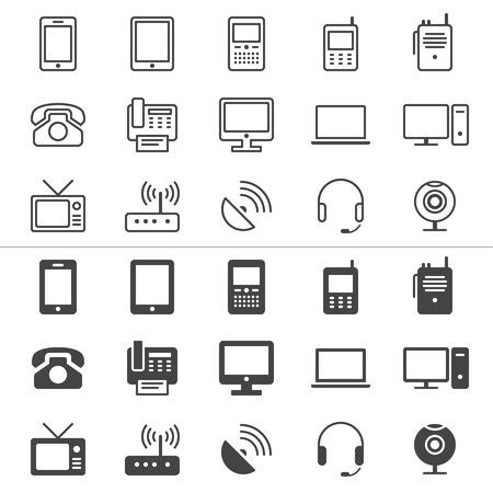 Communicatie-apparaat dunne iconen, inclusief normaal en stellen toestand Stock Illustratie