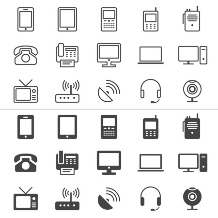 dispositif de communication icônes minces, inclus normale et permettent état Vecteurs
