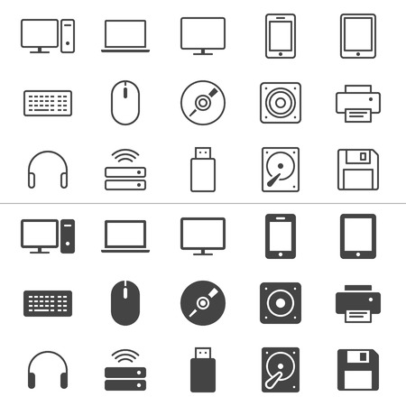 computer icon: Computer thin icons, included normal and enable state  Illustration