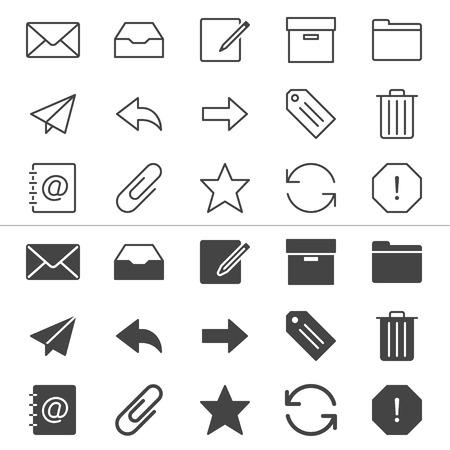 E-mail dunne pictogrammen, inbegrepen normaal en mogelijk staat Stock Illustratie
