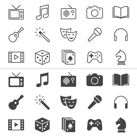 e book: Entertainment thin icons, included normal and enable state