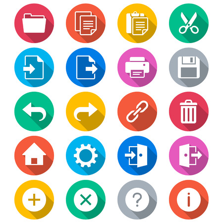 duplicate: Application toolbar flat color icons