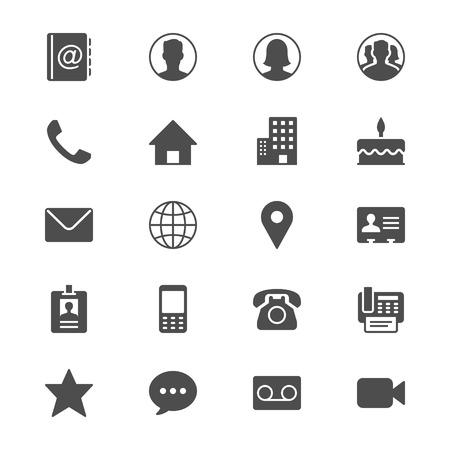 Póngase en contacto con los iconos planos Vectores