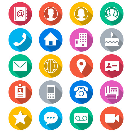 Neem contact op met vlakke kleur iconen