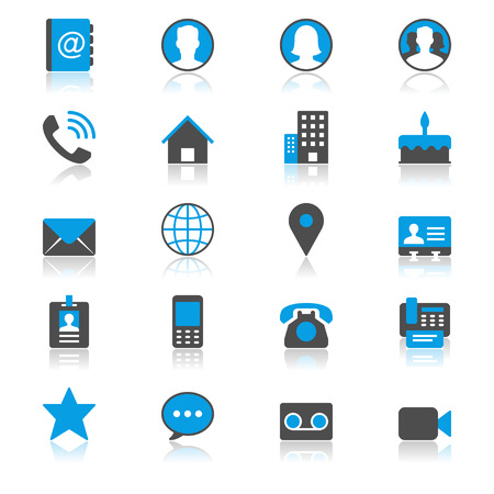 contact icons: Contact flat with reflection icons Illustration