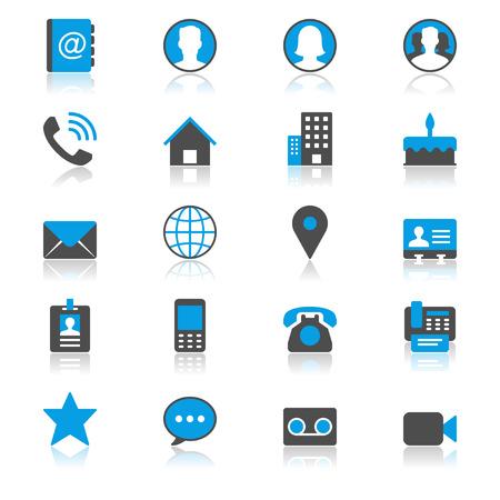 Contactez-plat avec des icônes de réflexion