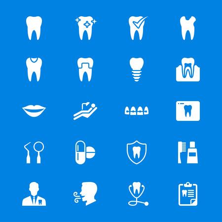 Stomatologiczne płaskie ikony
