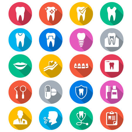 dental caries: Dental flat color icons