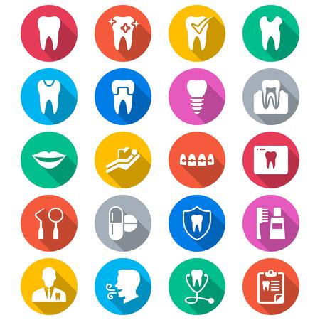 Stomatologiczne płaskie kolorowe ikony Ilustracje wektorowe