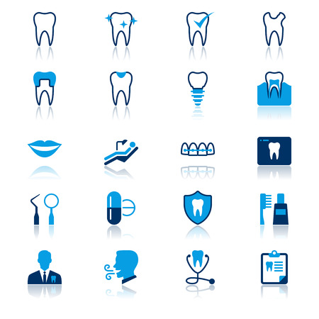 dental caries: Dental flat with reflection icons