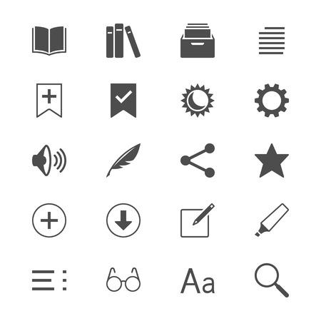 reader: E-book reader flat icons Illustration
