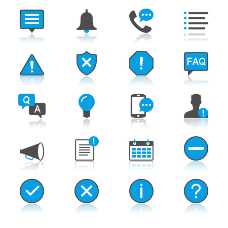 Information and notification flat with reflection icons Illustration