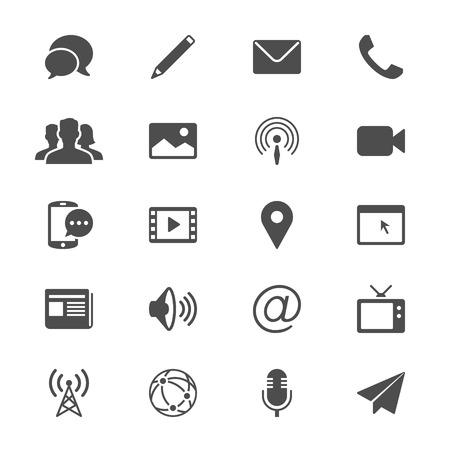 Media en communicatie vlakke pictogrammen
