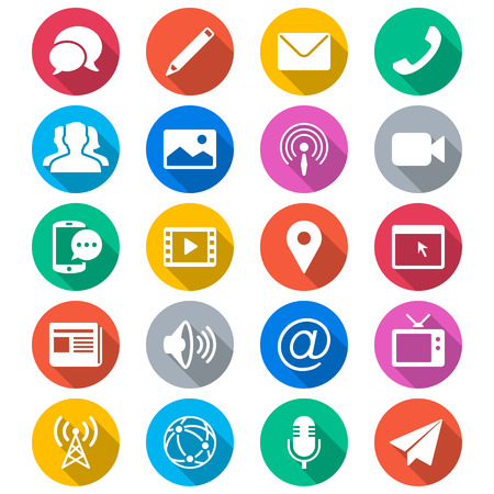 미디어 및 통신 평면 컬러 아이콘