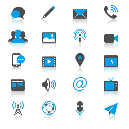 article icon: Media and communication flat with reflection icons Illustration