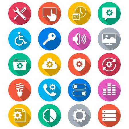 Réglage des icônes de couleur plats Banque d'images - 27372978
