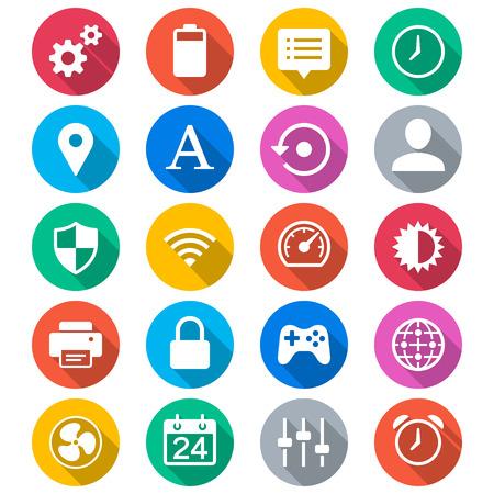 joypad: Configuraci�n de los iconos de color planas Vectores