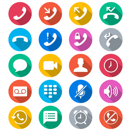 miss call: Telephone flat color icons