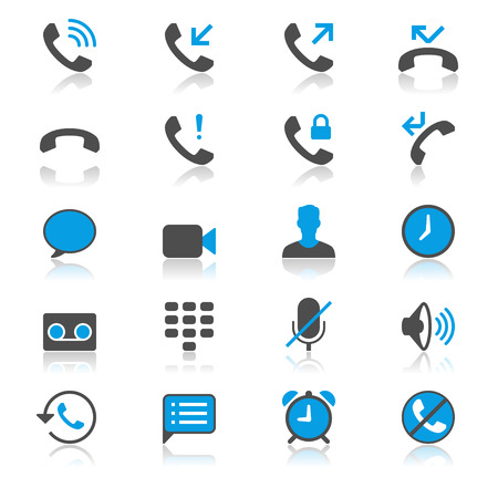 call history: Telephone flat with reflection icons
