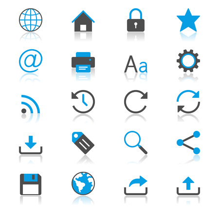 Web flat with reflection icons