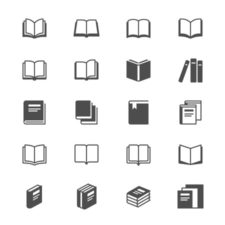Book flat icons Vectores