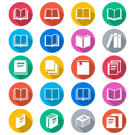 e book: Book flat color icons