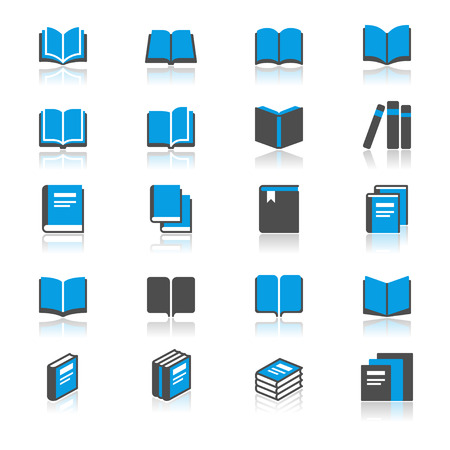 electronic publishing: Book flat with reflection icons