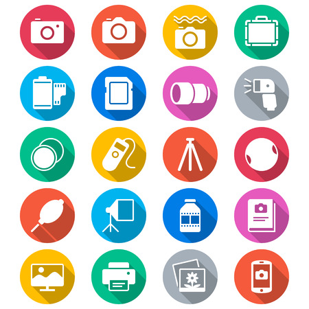 digital camera: Photography flat color icons
