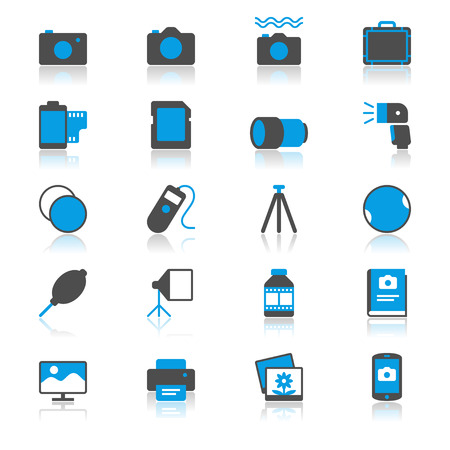 polarizing: Photography flat with reflection icons