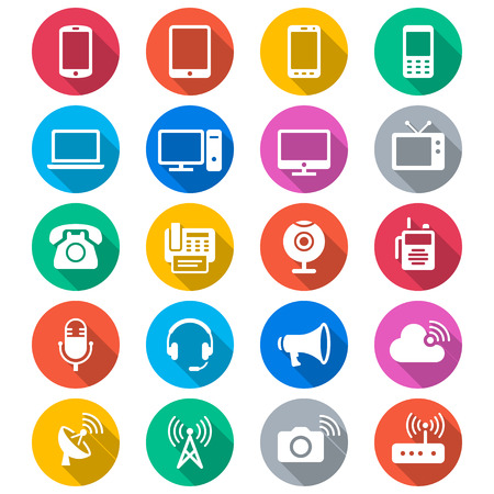 Communication device flat color icons