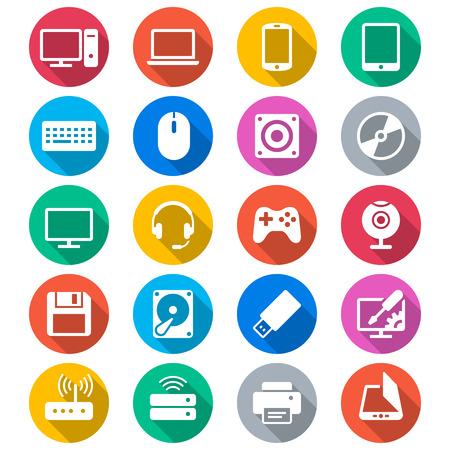 icono computadora: Los iconos de color plana del ordenador Vectores