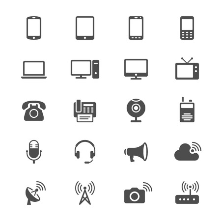 device: Communication device flat icons