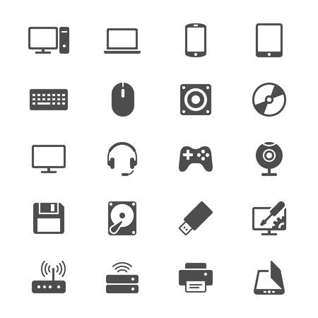 Computador, apartamento, ícones Ilustración de vector