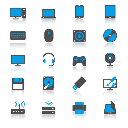 Computer flat with reflection icons Illustration