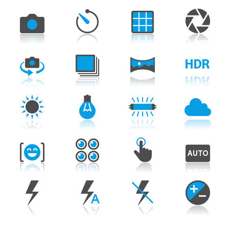 aperture grid: Photography flat with reflection icons