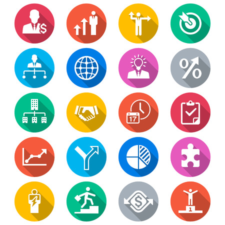 Business flat color icons 矢量图像