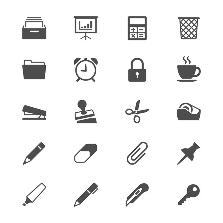 Office supplies flat icons 向量圖像